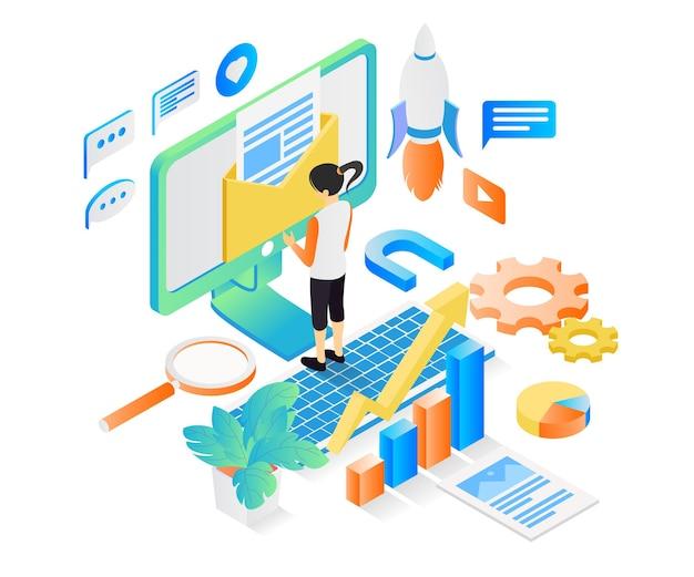 Ilustração do estilo isométrico da estratégia de marketing empresarial com e-mail