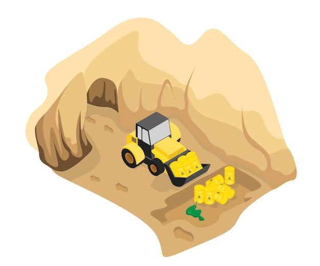 Ilustração do estilo isométrico de enterrar resíduos tóxicos no solo com equipamentos pesados
