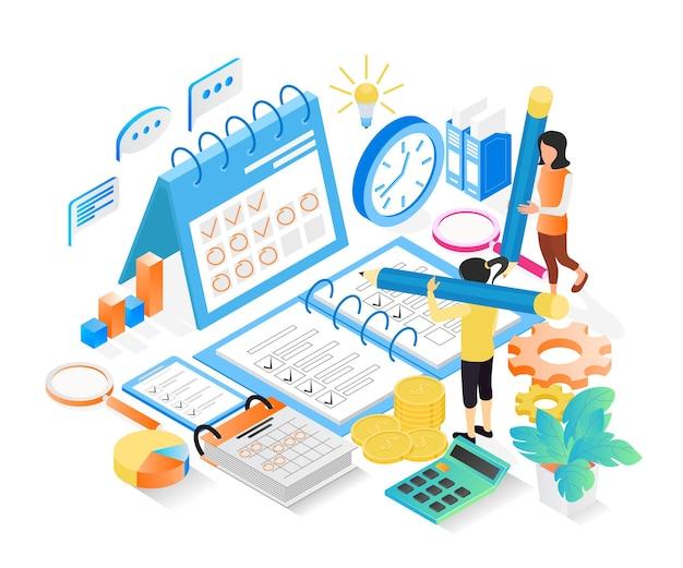 Ilustração do estilo isométrico do cronograma de planejamento de negócios com caracteres e data