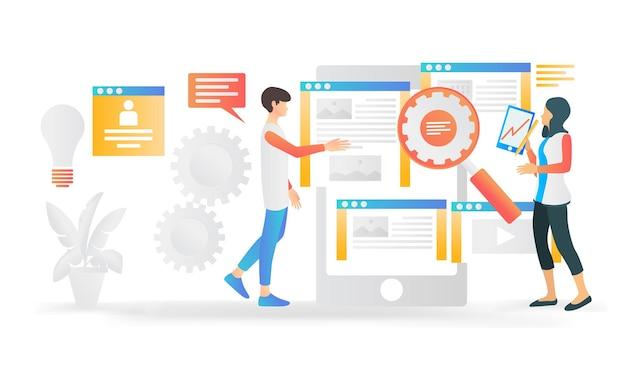 Ilustração do estilo isométrico moderno sobre o trabalho do designer de interface do usuário