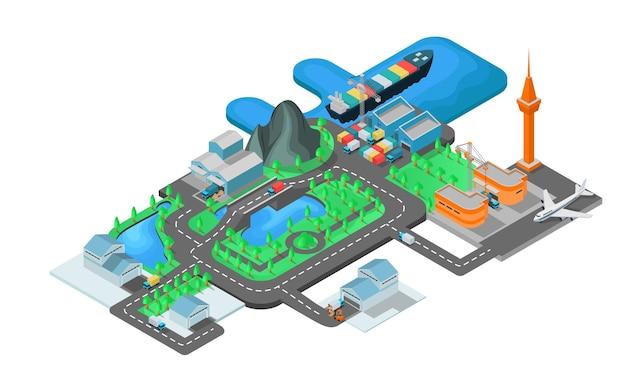 Ilustração do estilo isométrico sobre o mapa de envio do porto e aeroporto ao armazém