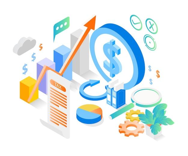 Ilustração do estilo isométrico sobre tributação com cifrão e alguns ícones