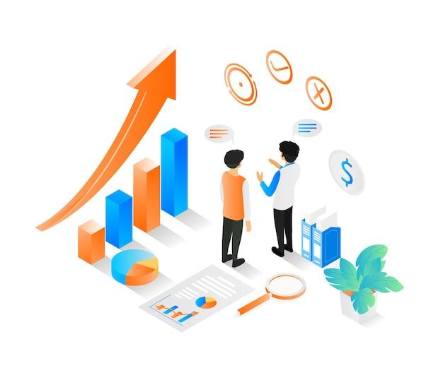 Ilustração do estilo isométrico sobre uma equipe de negócios discutindo o crescimento dos negócios