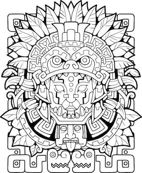 Ilustração do estilo maia para colorir