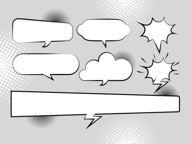 Ilustração do estilo pop art desenhada com sete balões de fala retrô