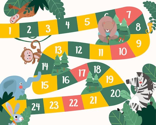 Ilustração do estilo simples de crianças animais jogo de tabuleiro.