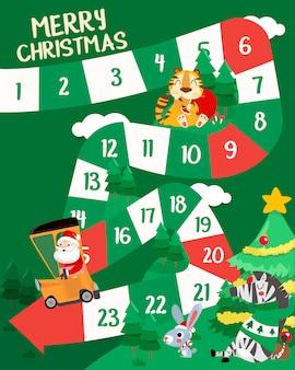 Ilustração do estilo simples de feliz natal com jogo de tabuleiro de animais.