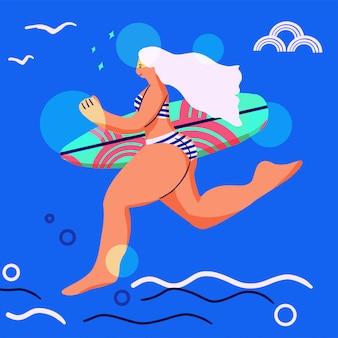 Ilustração do estilo simples. ilustração de surf praia verão. longboard mulheres surfando