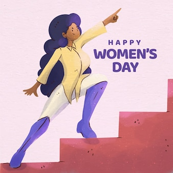 Ilustração do evento do dia internacional da mulher em aquarela