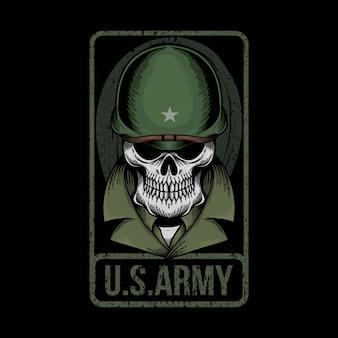 Ilustração do exército dos eua crânio