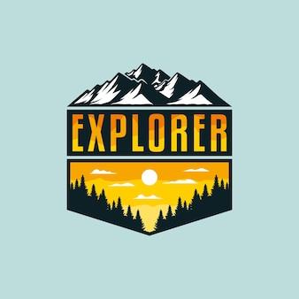 Ilustração do explorador de aventuras para crachá ao ar livre ou design de camiseta