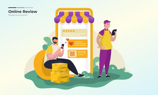 Ilustração do feedback do cliente com conceito de avaliações positivas