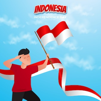 Ilustração do feliz dia da independência, 17 de agosto, design de cartão da indonésia