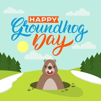 Ilustração do feliz dia da marmota