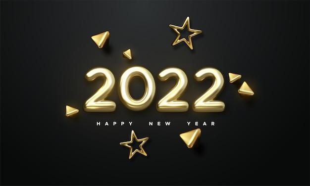 Ilustração do feriado de ano novo de números metálicos dourados de 2022 e formas de ouro 3d