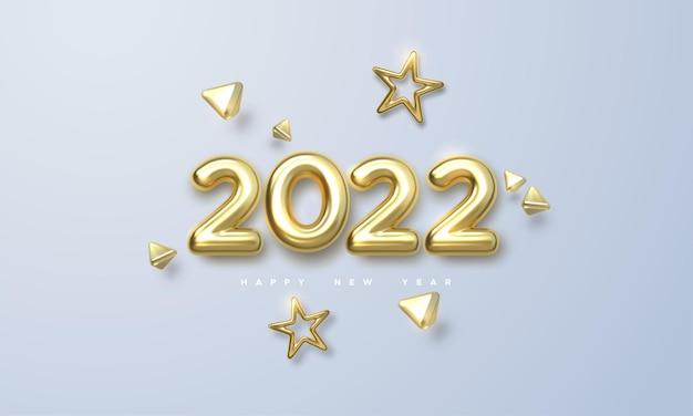 Ilustração do feriado do ano novo de números metálicos dourados de 2022 e formas de ouro 3d