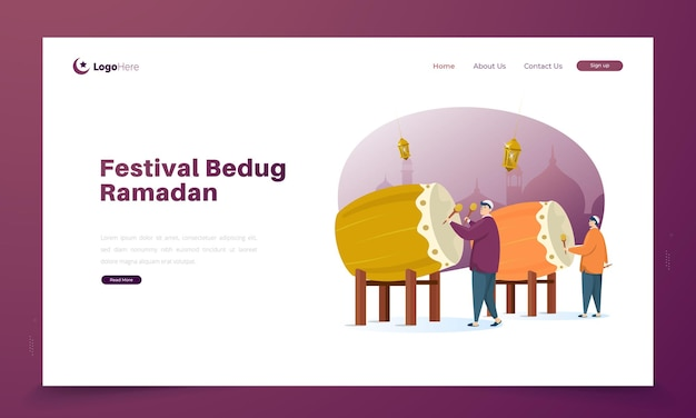 Ilustração do festival bedug ramadan na página de destino
