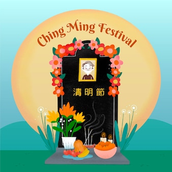 Ilustração do festival ching ming desenhada à mão