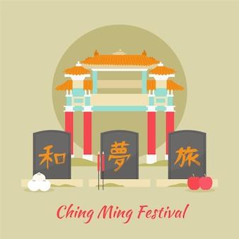 Ilustração do festival ching ming