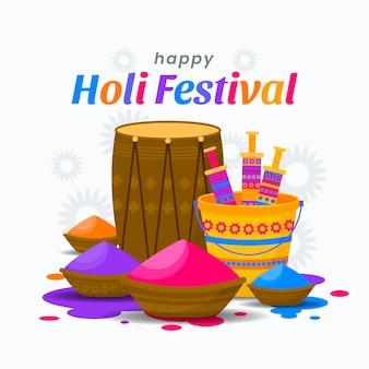 Ilustração do festival de holi design plano