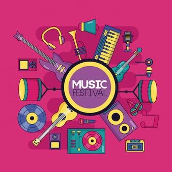 Ilustração do festival de instrumento musical