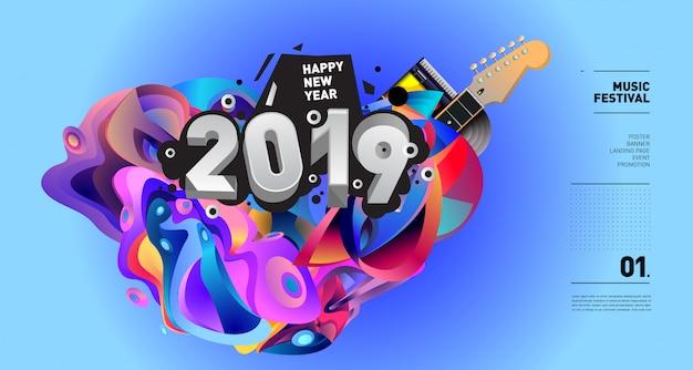 Ilustração do festival de música de ano novo de 2019