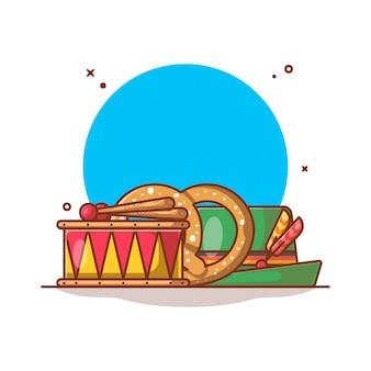 Ilustração do festival de outubro de chapéu, tambor e pretzel