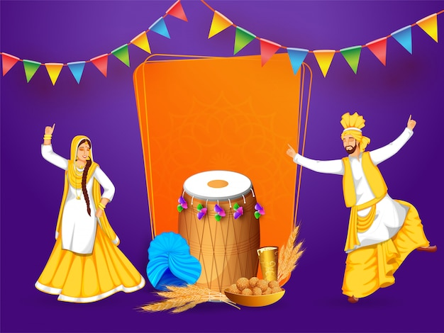 Ilustração do festival de punjabi baisakhi ou vaisakhi com um casal feliz do punjabi que executa a dança tradicional bhangra e gidda com cilindro, trigo, doce e bebida no fundo roxo.