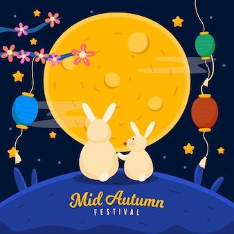 Ilustração do festival do meio do outono com coelhos e lanternas