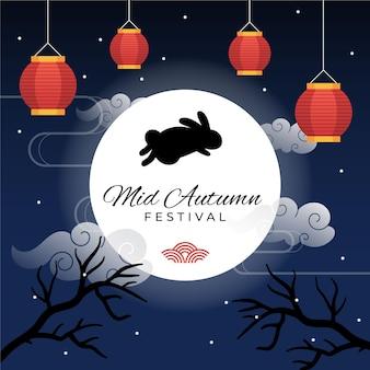 Ilustração do festival do meio do outono com lanternas e coelho
