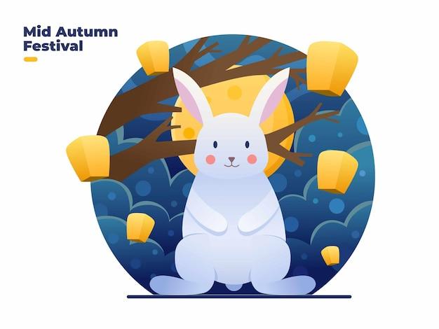 Ilustração do festival feliz no meio do outono com coelhos fofos à noite e na lua cheia