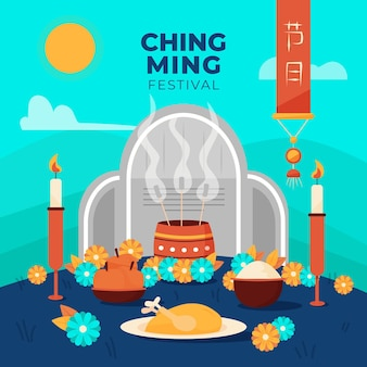 Ilustração do festival flat ching ming
