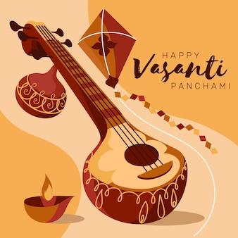 Ilustração do festival flat vasant panchami