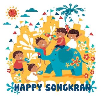 Ilustração do festival songkran com crianças brincando com elefante e água, superfície branca