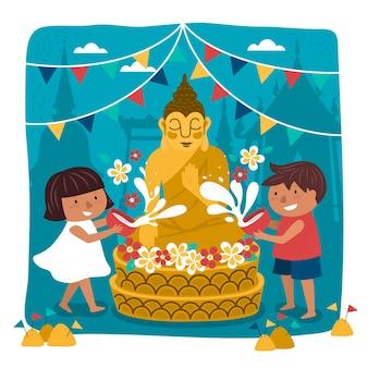 Ilustração do festival songkran com crianças derramando água na estátua de buda, superfície do templo
