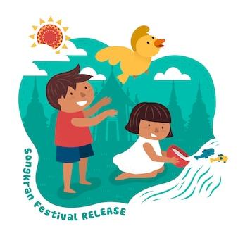 Ilustração do festival songkran com crianças soltando animais na superfície do templo
