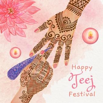 Ilustração do festival teej pintada à mão em aquarela