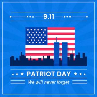 Ilustração do flat 9.11 dia do patriota