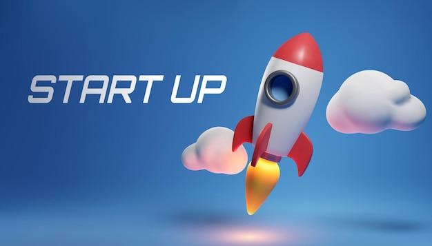 Ilustração do foguete e cópia do espaço para o início de negócios e anúncio de bitcoins. eps 10