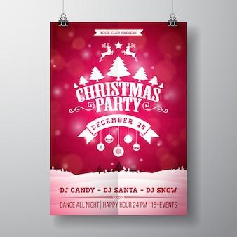 Ilustração do folheto da festa do feliz natal do vetor com a tipografia e os elementos do feriado no fundo vermelho. molde do cartaz do convite da paisagem do inverno.