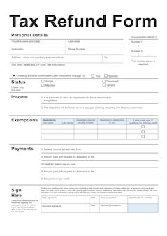 Ilustração do formulário de reembolso de imposto