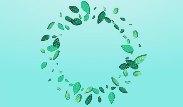 Ilustração do fundo azul do vetor do movimento da folha verde. modelo fly greens. pântano deixa padrão de chá. folha banner realista.