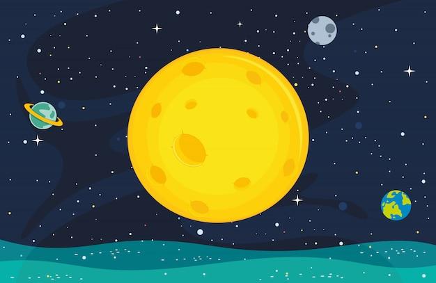 Ilustração do fundo da lua