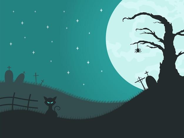 Ilustração do fundo do dia das bruxas em design plano
