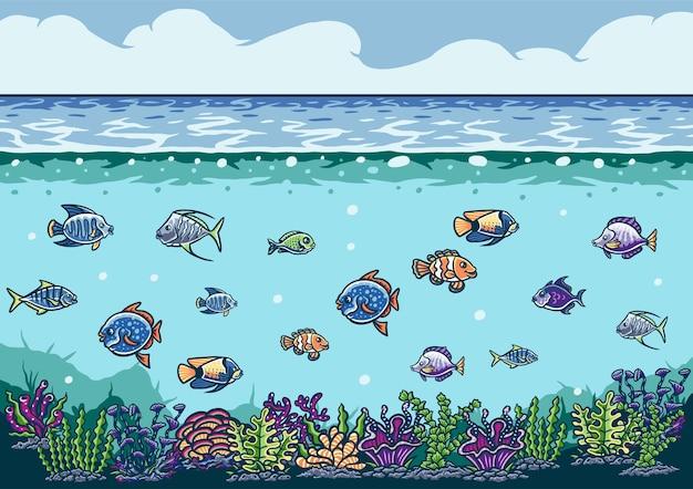 Ilustração do fundo do mar com peixes