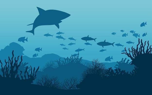 Ilustração do fundo do mar com tubarões e peixes