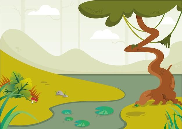 Ilustração do fundo do pântano dos desenhos animados em formato vetorial