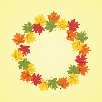 Ilustração do fundo grinalda do outono no estilo plana