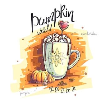 Ilustração do fundo mundo da abóbora. uma caneca com marshmallows e chocolate quente, abóbora, toco de vela, grãos de café.