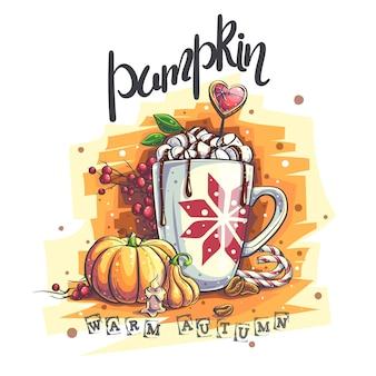 Ilustração do fundo outono quente. uma caneca com marshmallows e chocolate quente, abóbora, toco de vela, grãos de café.